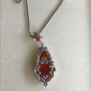 Ottoman Sterling Silver Garnet Pendant